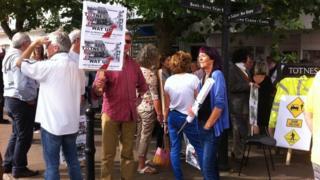 Protesters in Totnes
