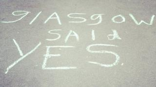 """""""Glasgow said Yes"""" chalked on to pavement"""