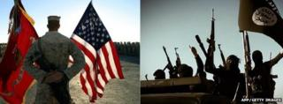 Composite picture of US troops and IS fighters