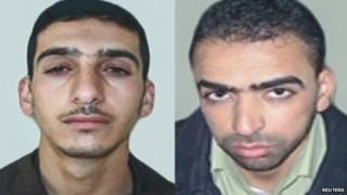 Photos supplied by Shin Bet of Marwan Qawasmeh, left, and Amer Abu Aisha. 26 June 2014