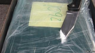 Seized alleged cocaine. Pic: Home Office