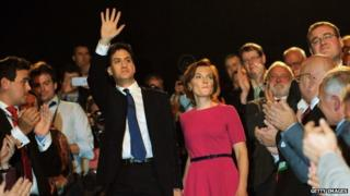 Ed Miliband, with his wife Justine, after Tuesday's speech