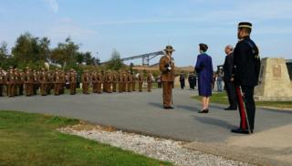 The memorial being unveiled by the Princess Royal