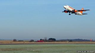 Plane landing at Inverness Airport
