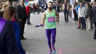Shia LaBeouf runs in Amsterdam
