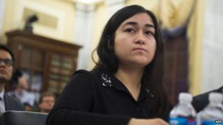 Jewher Ilham, daughter of Ilham Tohti, a prominent Uighur academic who was recently arrested by China, testifies at the Congressional-Executive Commission on China on Capitol Hill in Washington on 8 April 2014.