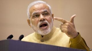 "PM Narendra Modi at the launch of his ""Make in India"" initiative in Delhi, India on Sept. 25, 2014."