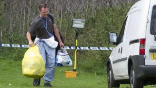 Police established a cordon in Elthorne Park as detectives investigated the disappearance of Alice Gross