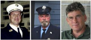 Lt Howard Bischoff and firefighters Daniel Heglund and Robert Leaver