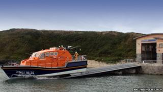 Porthdinllaen's new RNLI boathouse and Tamar class lifeboat