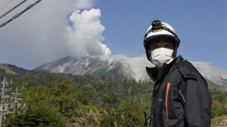 Fire crews on the road to Mount Ontake. 28 Sept 2014