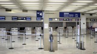 Deserted Air France checking in area