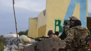 Ukrainian troops at checkpoint in the east