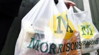 A bag of shopping bought from Morrisons