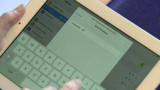 Password being entered on iPad