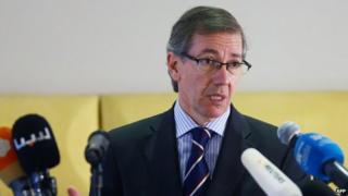 Spanish UN envoy to Libya Bernardino Leon addresses a news conference in the Libyan capital Tripoli on September 11, 2014.