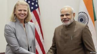 Mr Modi (right) met IBM CEO Ginni Rometty on Monday