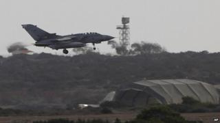 British Tornado jet landing at RAF base in Akrotiri, Cyrpus