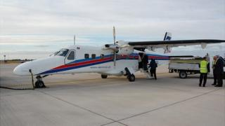 Dornier 228 being trialled by Aurigny at Guernsey Airport