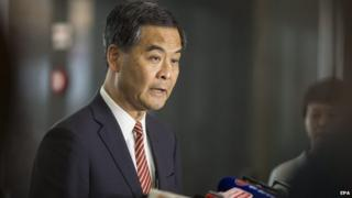 CY Leung, Hong Kong's chief executive, speaks during a news conference
