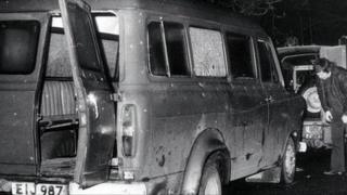 the bullet riddled minibus near Kingsmill in south Armagh in which 10 Protestant workmen were travelling