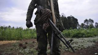 A rebel in eastern DR Congo pictured in 2012