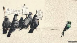Banksy mural showing pigeons in Clacton