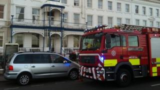 Fire engines at White House Hotel, St George's Crescent