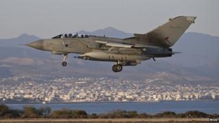 An RAF Tornado GR4 returning to RAF Akrotiri in Cyprus after an armed mission