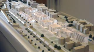 A model of the proposed Maindy Road campus