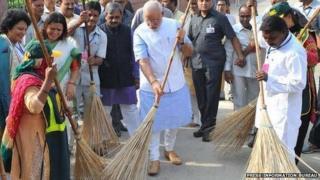 PM Modi wields the broom
