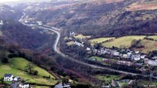 View from Gilwern Hill towards Brynmawr showing Heads of the Valleys Road, Cheltenham, Black Rock and Clydach Gorge