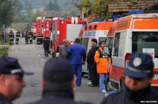 Bulgarian emergency services at the scene near Gorni Lom. 2 October