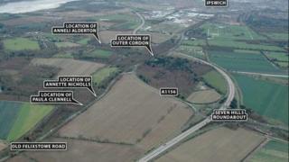 Suffolk Police handout showing Ipswich and where bodies were found