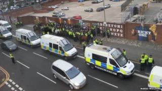Police with Croatia Zagreb fans in Duke Street