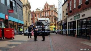 Emergency services were called to The Shambles near the Argos store, just before 09.20 BST.