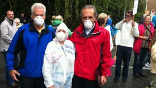 Protesters at Conwy sewage works