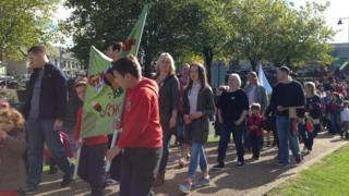 Urdd procession in Caerphilly