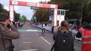 Boniface Kongin wins the 2014 Cardiff Half Marathon