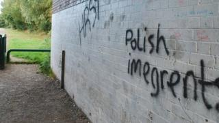 Anti-Polish graffiti on the wall