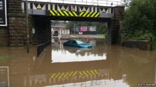Flood water under bridge at Team Valley. Photo: Scott Hunter