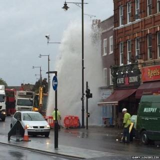 Burst water main on King Street