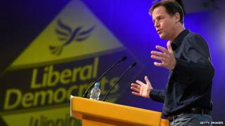 Nick Clegg during the question and answer session in Glasgow