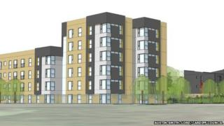 The plans include apartments