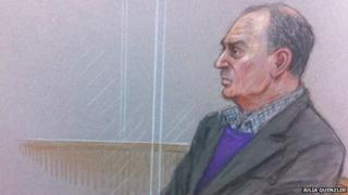 Artist impression of John Allen in the courtroom