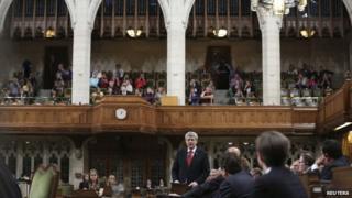 Canadian PM Stephen Harper in parliament, Ottawa, 07 Oct 2014