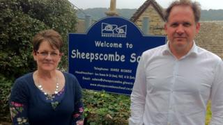 Sara Bennion and Henry Dimbleby outside Sheepscombe School
