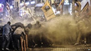 Tear gas and water cannon in Istanbul during protest against IS attacks on Syrian town of Kobane. 7 Oct 2014