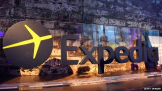 Expedia logo on display in New York City