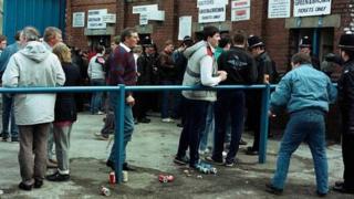 Area outside Hillsborough turnstiles on 15 April 1989